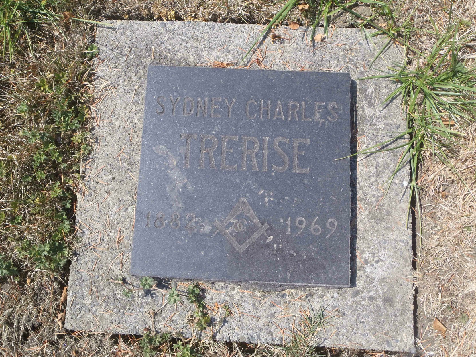 Sydney Charles Trerise grave marker, Holy Trinity Anglican cemetery, North Saanich, B.C.