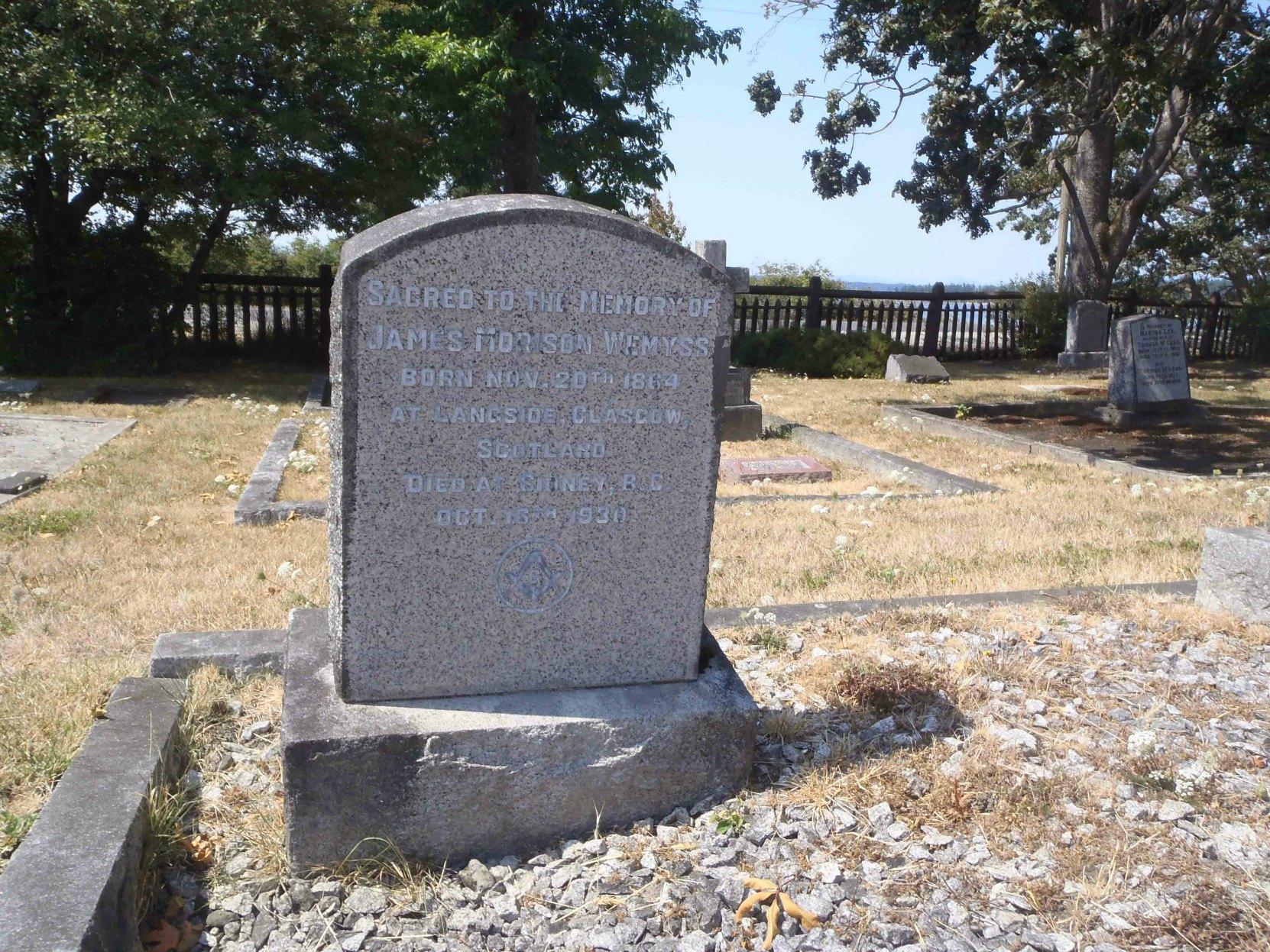 James Morison Wemyss grave, Holy Trinity Anglican Church cemetery, Sidney, B.C.
