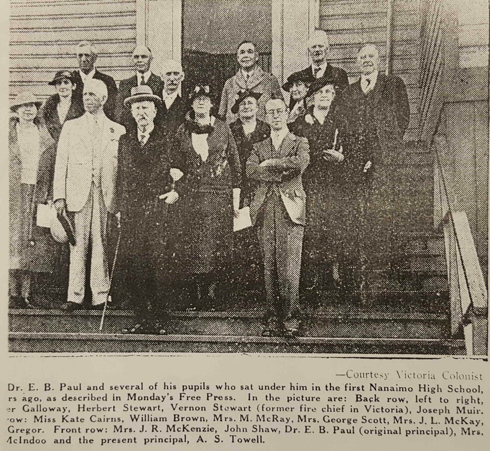 Victoria Daily Colonist photo of Edward Burness Paul meeting with some of his former students in Nanaimo, circa 1928. Other Freemasons in this photo are John Shaw (Past Master of Ashlar Lodge, No. 3, Past Grand Master and former Mayor of Nanaimo) and Vernon Stewart (former fire chief of Victoria).