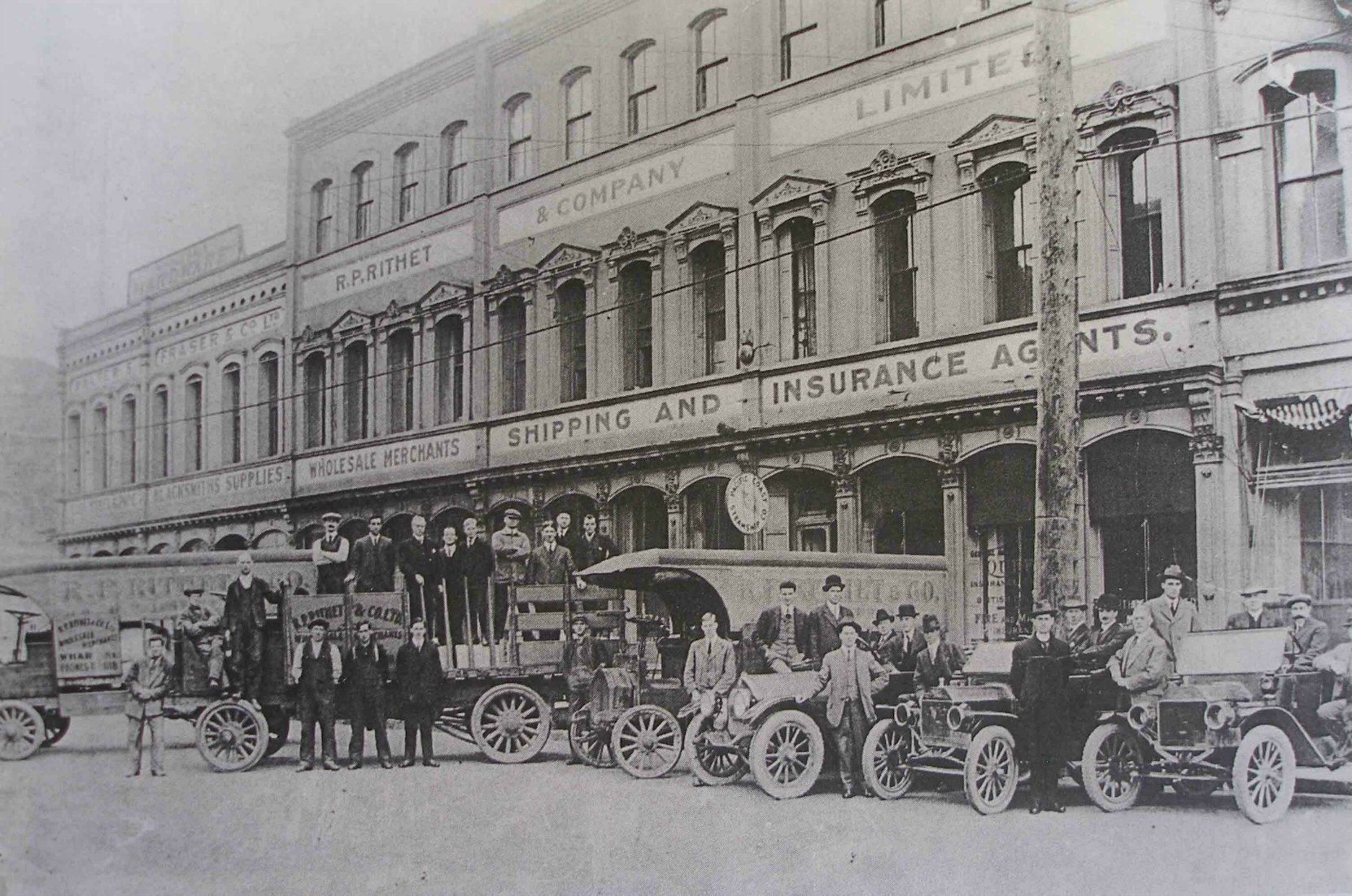 Rithet Building, 1117-1129 Wharf Street, circa 1912, when occupied by Robert P. Rithet and his R.P. Rithet & Company Ltd.