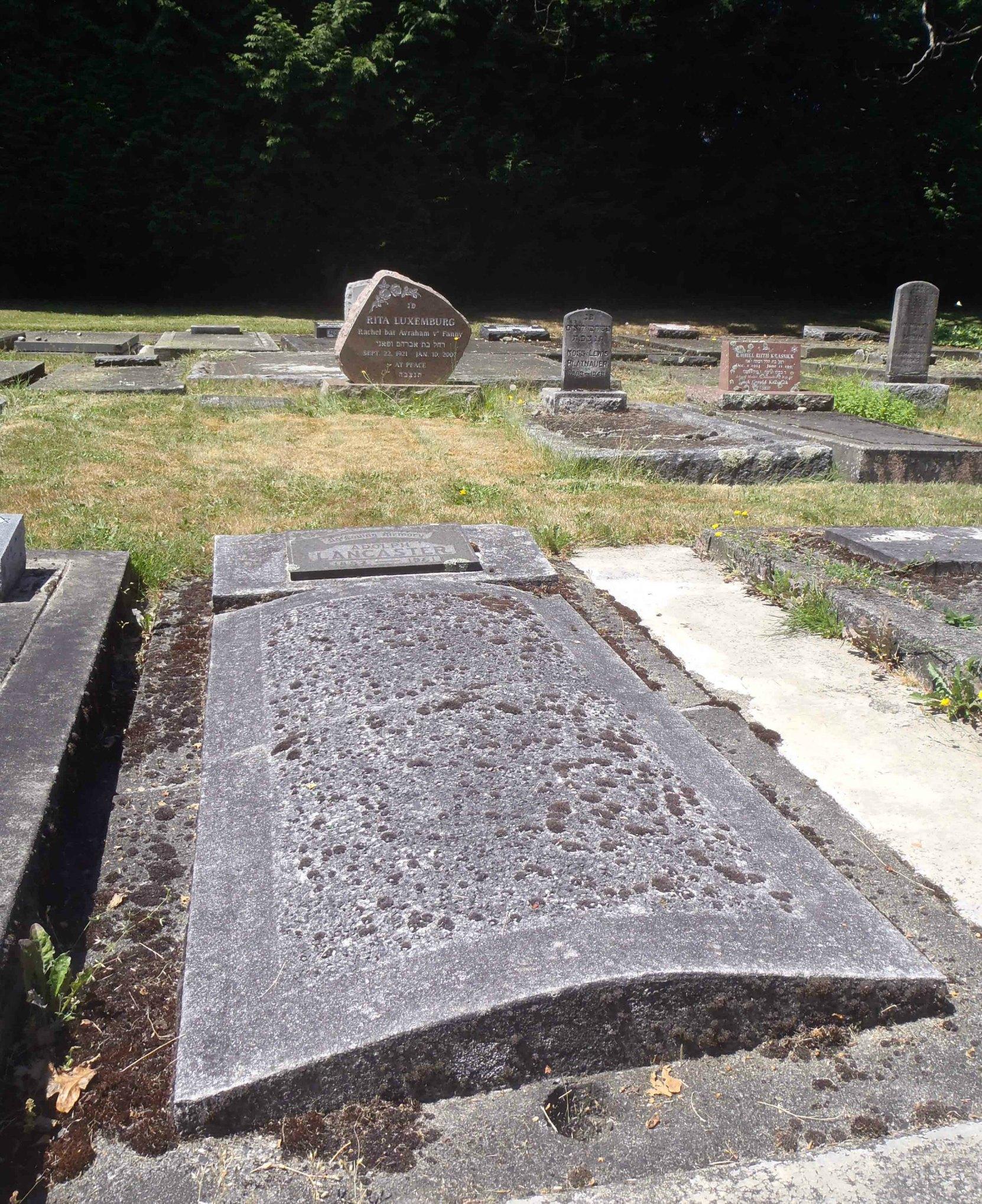 Adolph Lancaster (1882-1861), grave, Victoria Jewish Cemetery, Victoria, B.C.