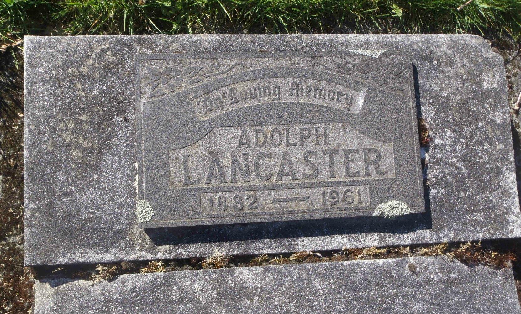 Adolph Lancaster (1882-1861), headstone inscription, Victoria Jewish Cemetery, Victoria, B.C.