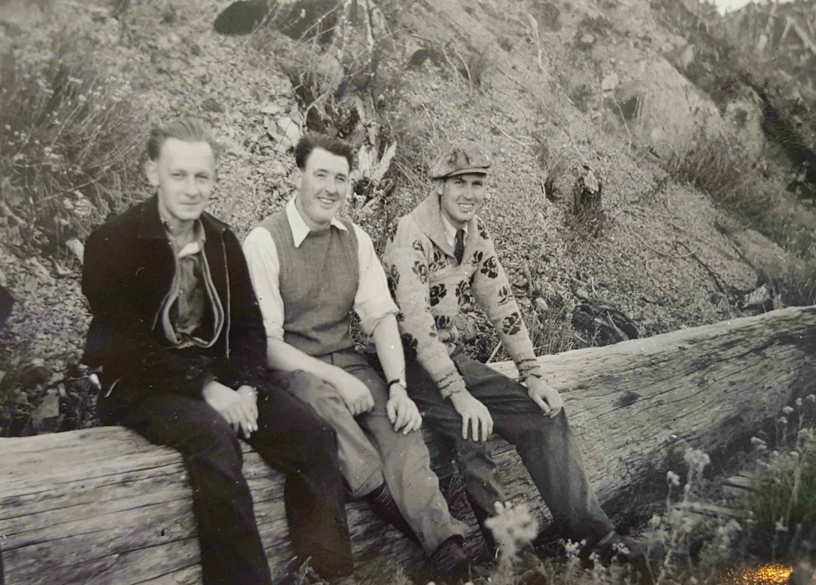 Casimir Kopec (left), Claude Green (center) and an unidentified man, circa 1940
