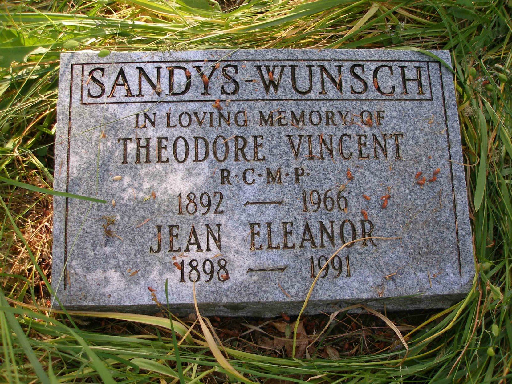 Theodore Vincent Sandys-Wunsch grave, St. Peter's Quamichan Anglican Cemetery, North Cowichan, B.C.