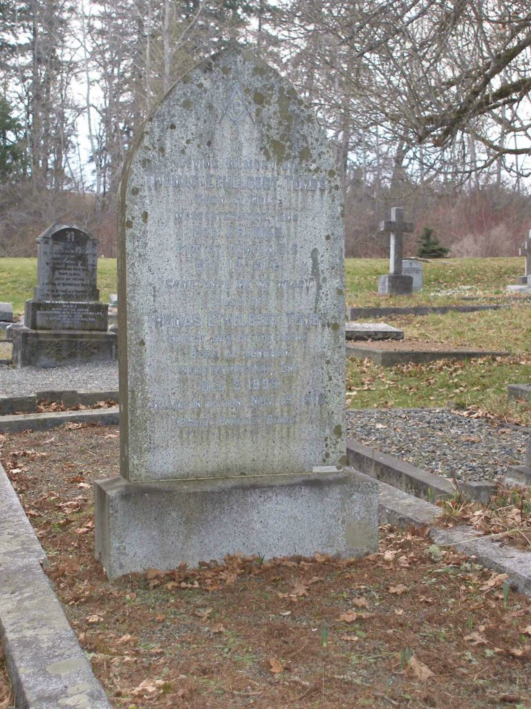 Thomas Ethelbert Tombs garve marker, St. Peter's Quamichan Anglican cemetery, North Cowichan, B.C.
