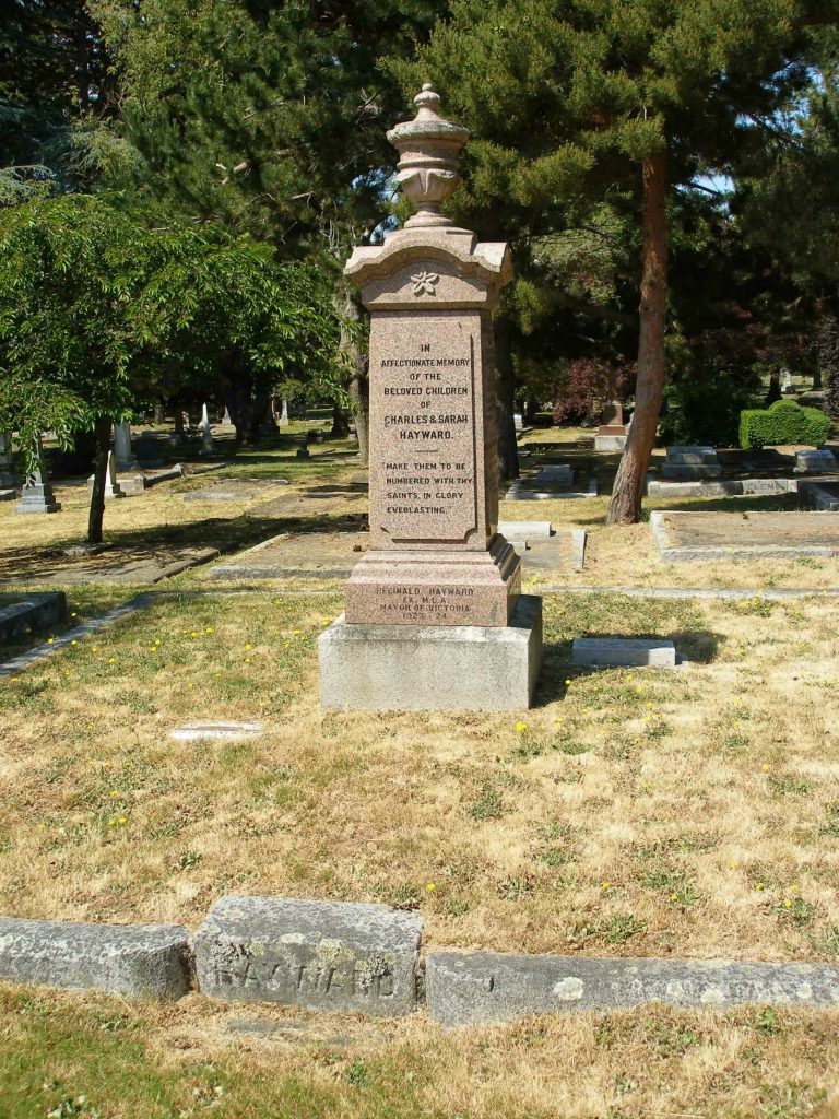 Charles Hayward family burial plot, Ross Bay Cemetery, Victoria, B.C. (photo by Temple Lodge No. 33 Historian)