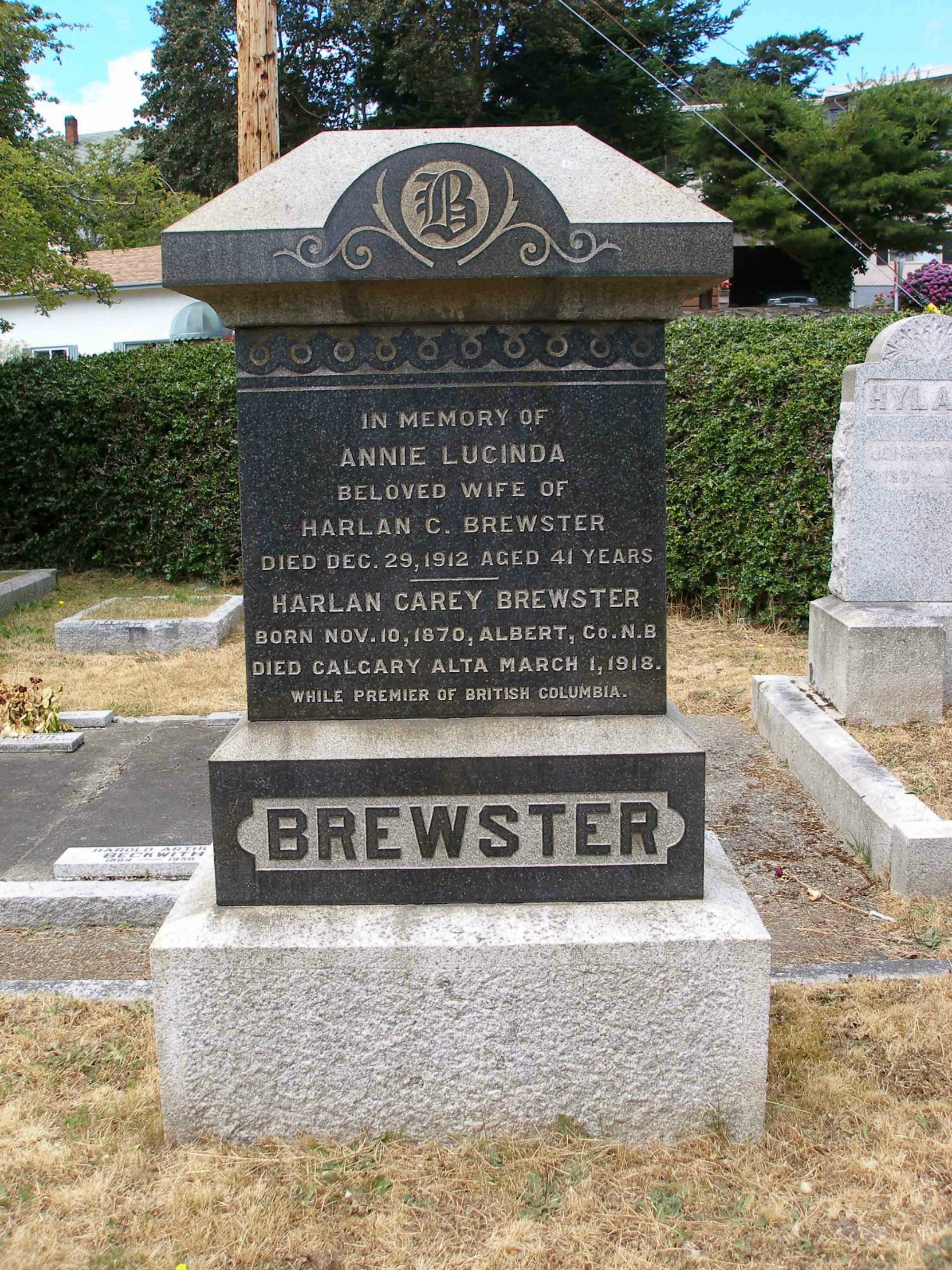 Harlan Carey Brewster grave stone, Ross Bay Cemetery, Victoria, B.C. (photo by Temple Lodge No. 33 Historian)