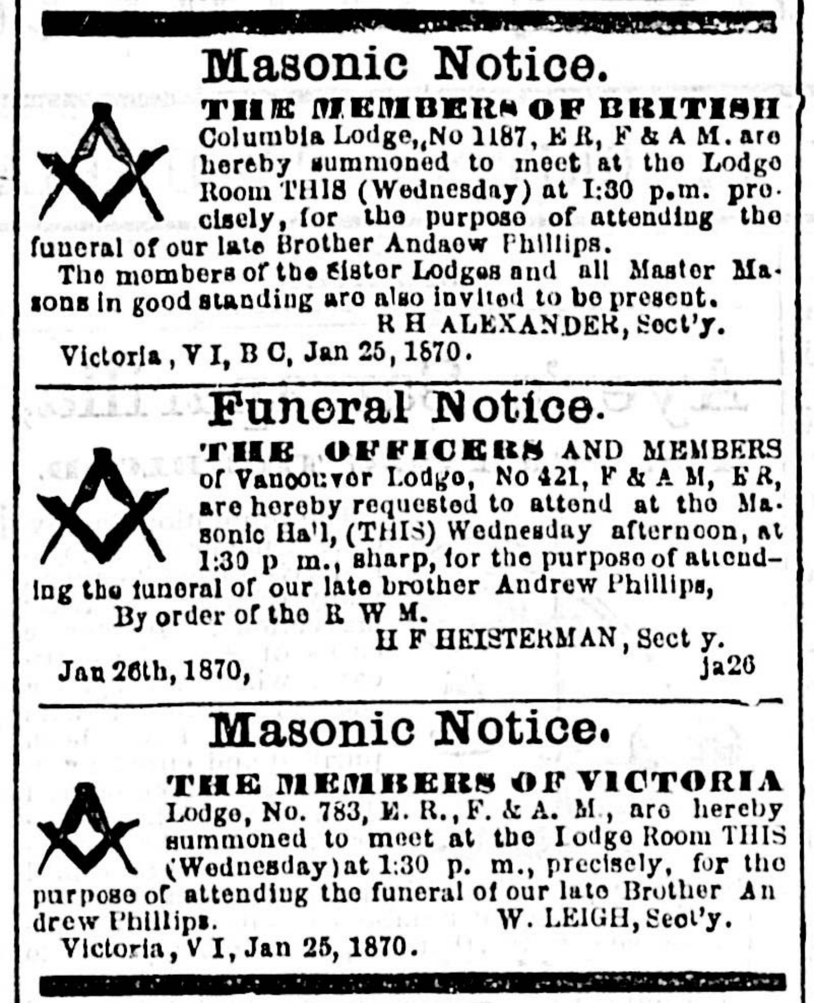The Masonic Funeral Notices for Andrew Phillips in the British Daily Colonist, 26 January 1870