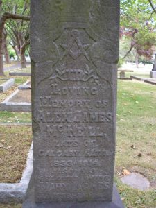 Alex James McNeill grave inscription, Ross Bay Cemetery, Victoria, B.C. (photo by Temple Lodge No.33 Historian)
