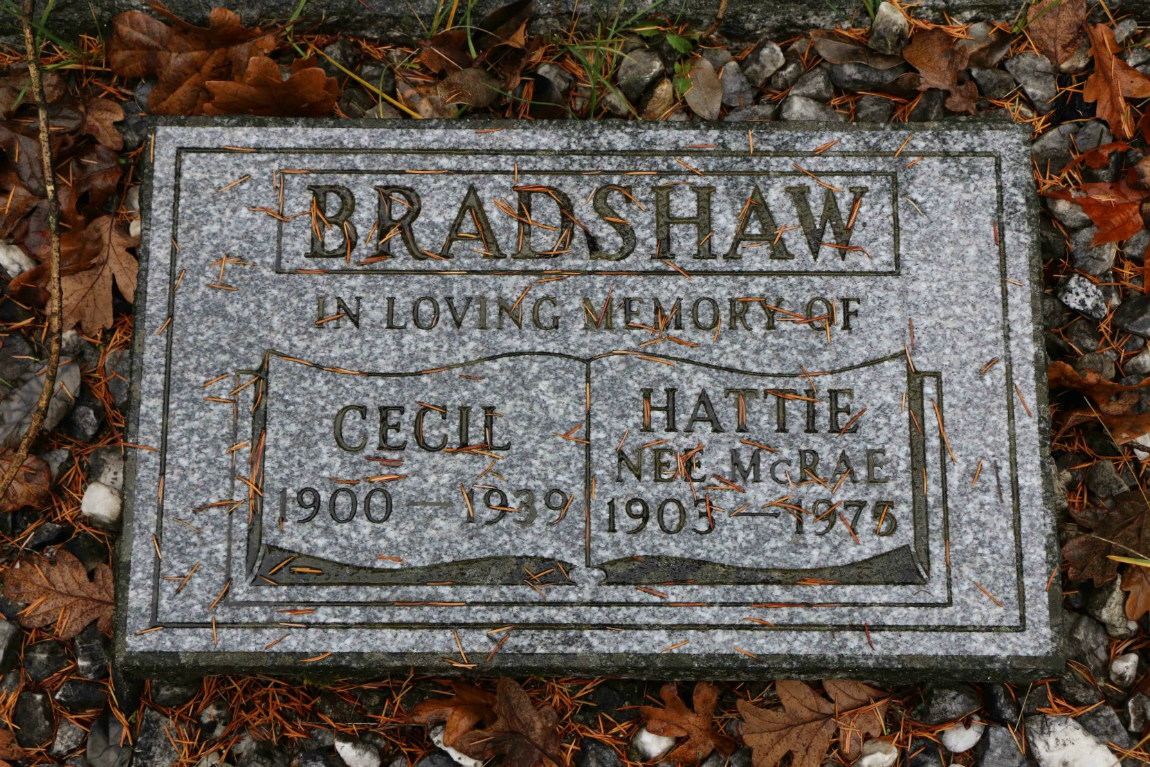 Cecil Bradshaw gravestone, St. Peter's Quamichan Anglican Cemetery, North Cowichan, B.C. (photo by Temple Lodge No. 33 Historian)