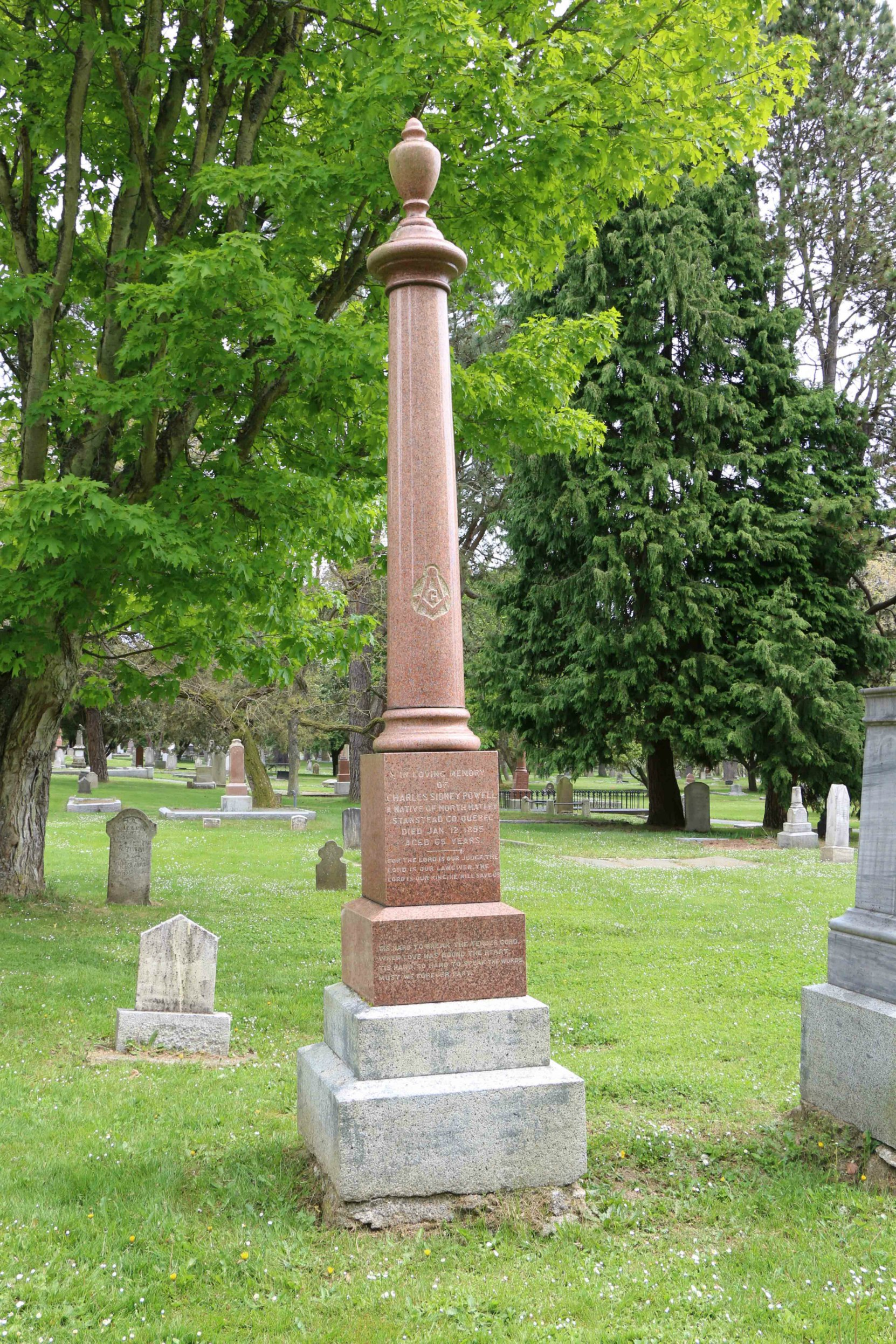 Charles Sidney Powell grave, Ross Bay Cemetery, Victoria, B.C. (photo by Temple Lodge No.33 Historian)