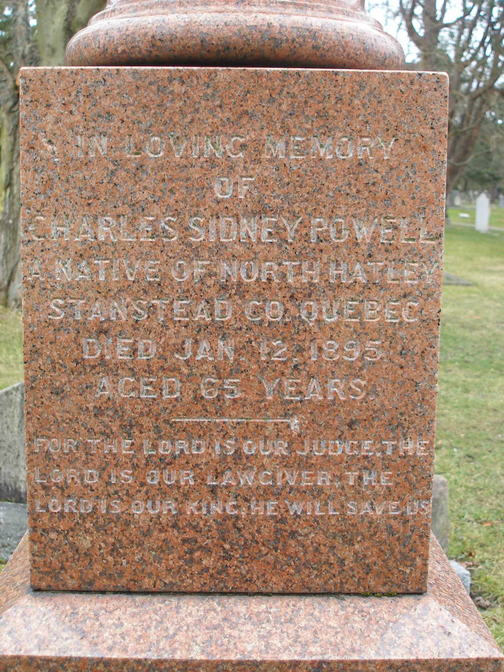 Charles Sidney Powell grave inscription, Ross Bay Cemetery, Victoria, B.C. (photo by Temple Lodge No.33 Historian)