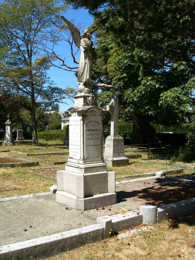 """Giacomo Bossi grave, Ross Bay Cemetery, Victoria, B.C. The """"Bossi Angel"""" is one of the most photographed grave markers in Ross Bay Cemetery. (photo by Temple Lodge No. 33 Historian)"""