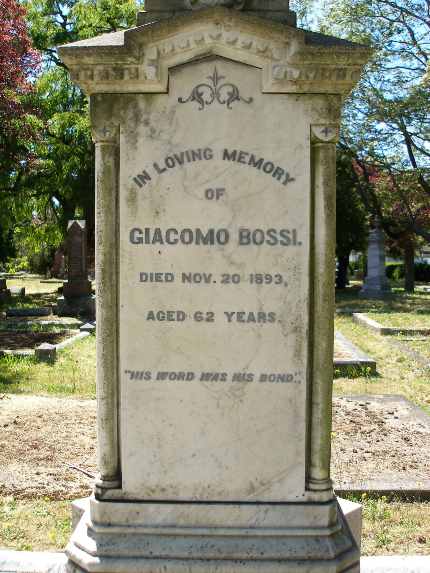 Inscription on the Giacomo Bossi grave, Ross Bay Cemetery, Victoria, B.C. (photo by Temple Lodge No. 33 Historian)