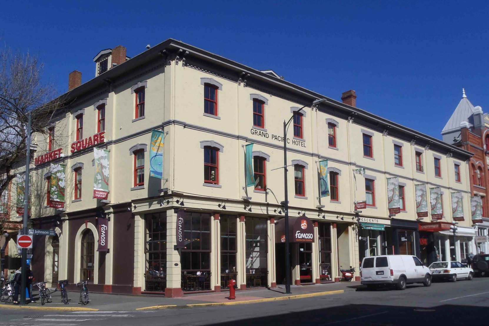 530-540 Johnson Street, Victoria, B.C. Originally built in 1879 by Giacomo Bossi as the Grand Pacific Hotel. (photo by Temple Lodge No. 33 Historian)