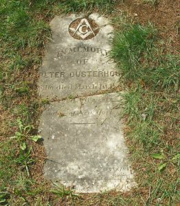 Peter Ousterhout grave marker, Ross Bay Cemetery, Victoria, B.C. (photo by Temple Lodge No. 33 Historian)