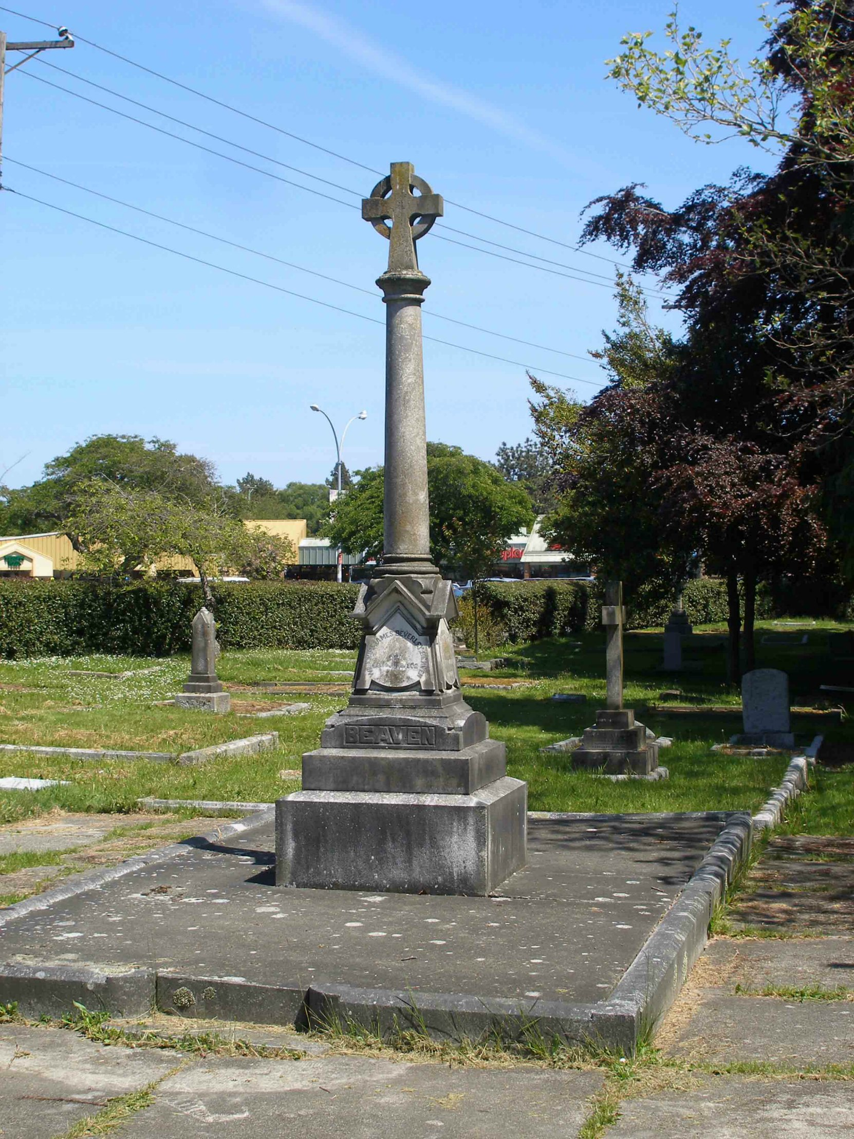 Robert Beaven grave, Ross Bay Cemetery, Victoria, B.C. (photo by Temple Lodge No. 33 Historian)