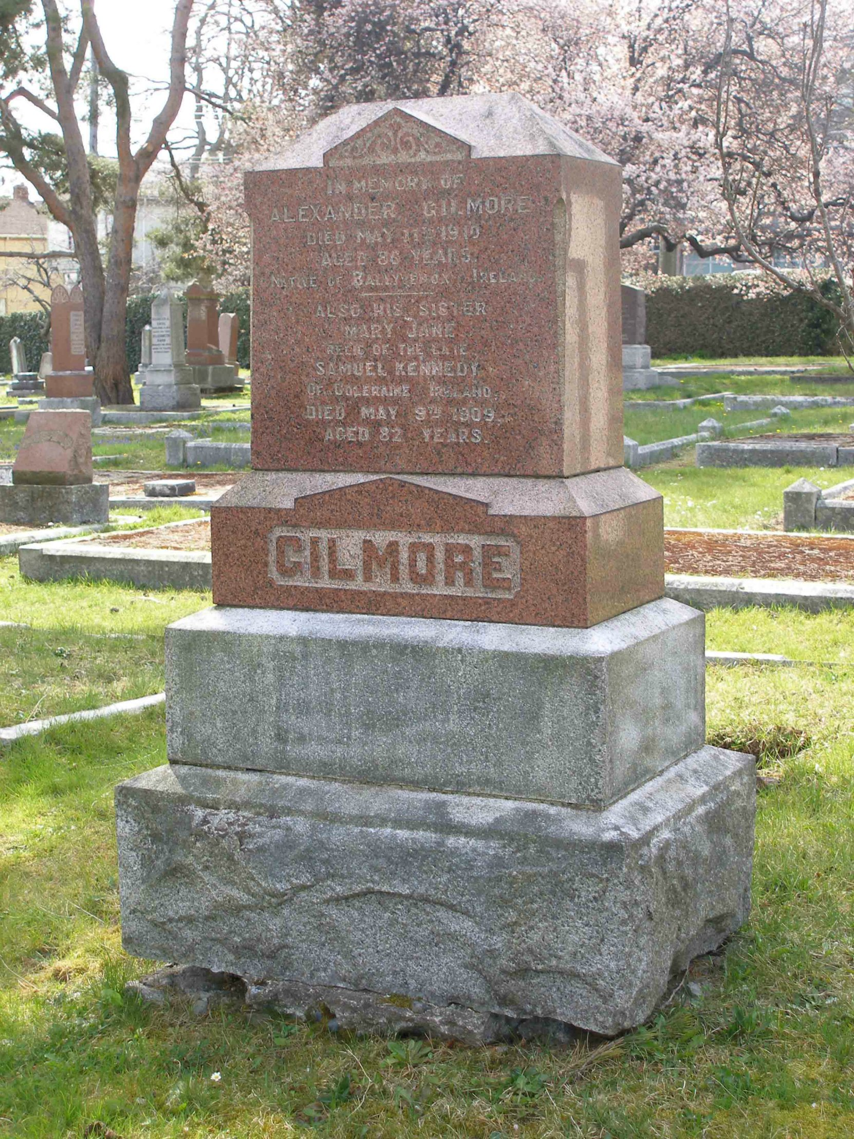 Alexander Gilmore grave, Ross Bay Cemetery, Victoria, B.C. (photo by Temple Lodge No. 33 Historian)