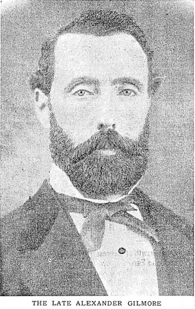 Obituary photo of Alexander Gilmore. Although Alexander Gilmore died in 1910, this photo appears to have been taken circa 1870. (reproduction by Temple Lodge No. 33 Historian)