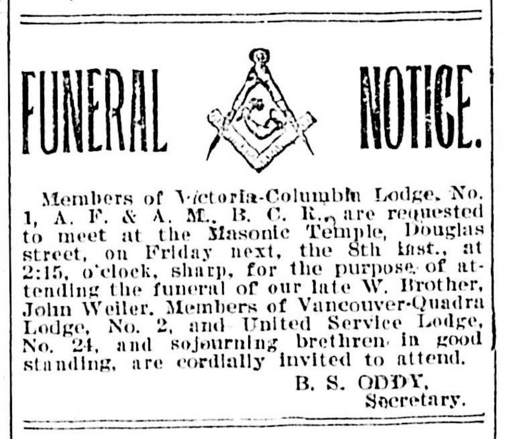 Funeral Notice for John Weiler in Victoria newspapers, September 1899