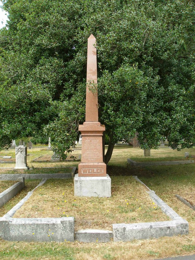 John Weiler family grave, Ross Bay Cemetery, Victoria, B.C, (photo by Temple Lodge No. 33 Historian)