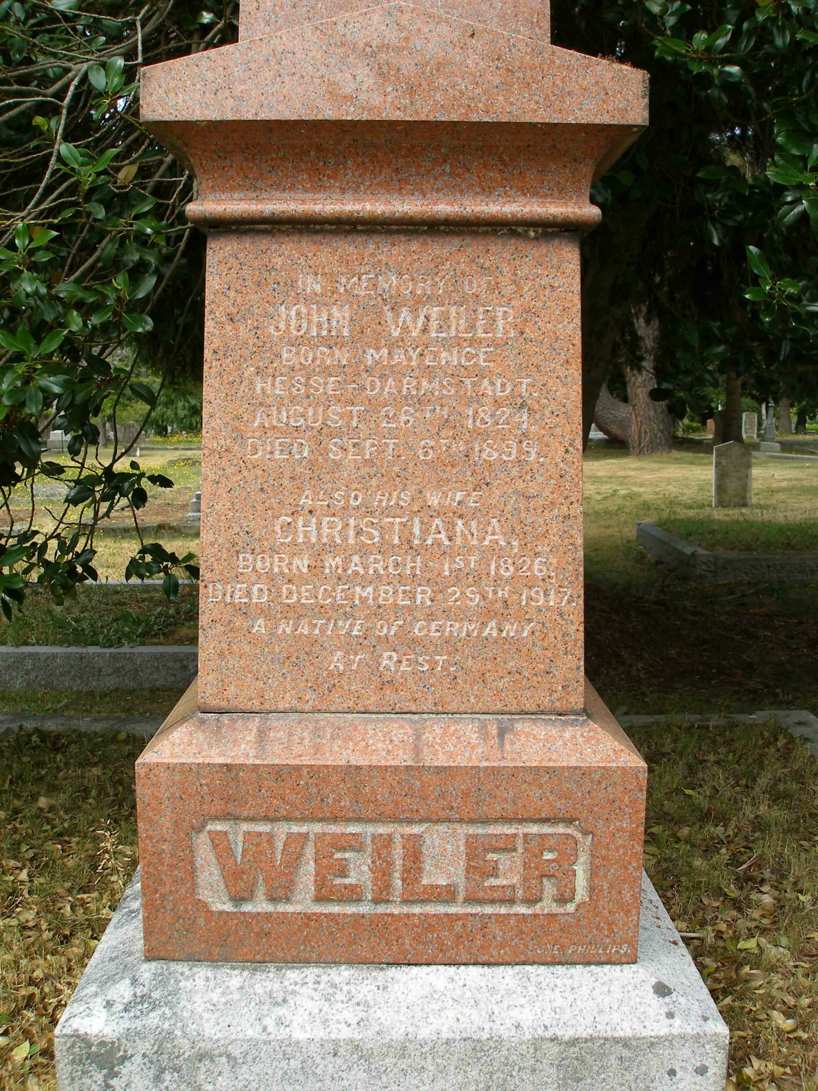 John Weiler grave inscription, Ross Bay Cemetery, Victoria, B.C, (photo by Temple Lodge No. 33 Historian)