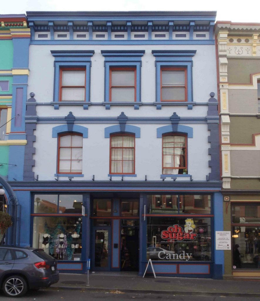 557-559 Johnson Street, Victoria, B.C. Built in 1875 for Henry Saunders, it became the location of Gilmore & McCandless in the 1880's and 1890's (photo by Temple Lodge No. 33 Historian)