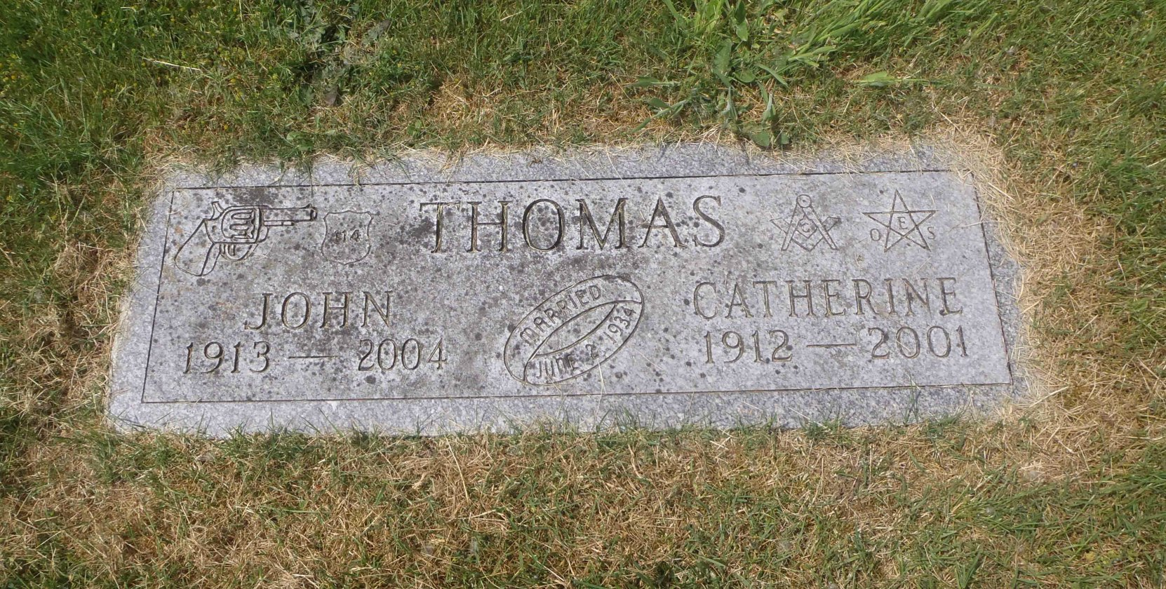 John Thomas and Catherine Thomas grave marker, Shawnigan Cemetery, Shawnigan Lake, B.C. (photo by Temple Lodge No. 33 Historian)