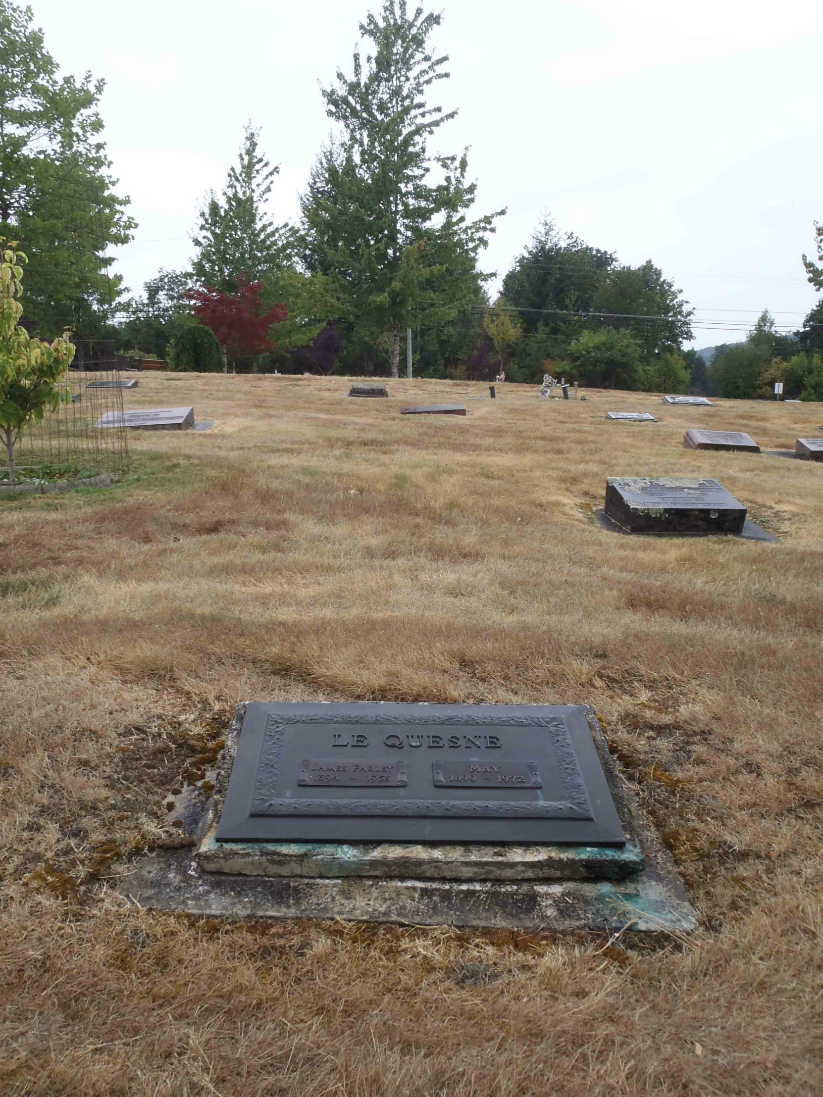 James Farley LeQuesne grave, Mountain View Cemetery, North Cowichan (photo by Temple Lodge No. 33 Historian)