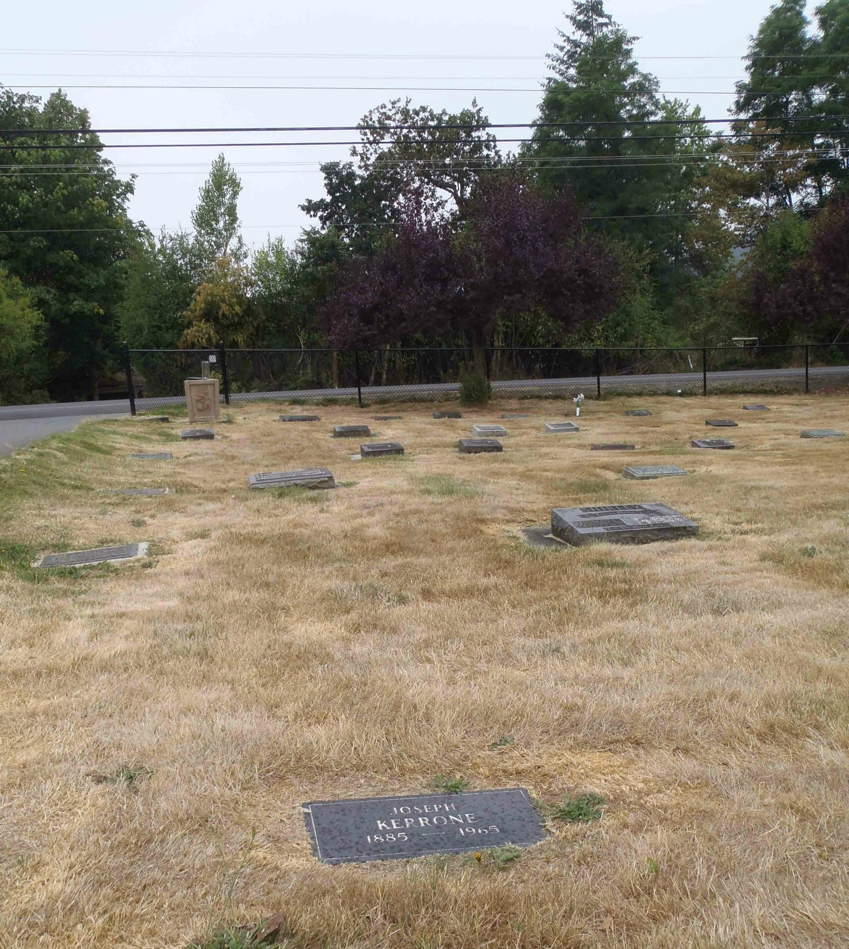 Joseph Kerrone grave, Mountain View Cemetery, North Cowichan (photo by Temple Lodge No. 33 Historian)