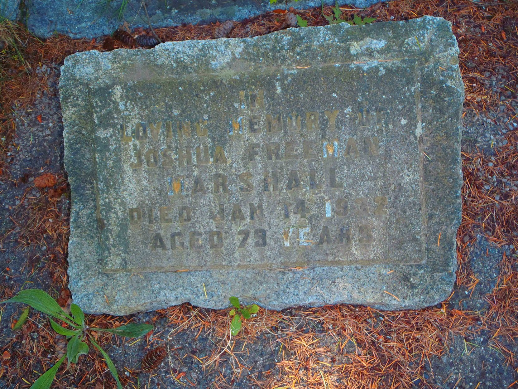 Joshua Freeman Marshall headstone, Chemainus Cemetery, Chemainus, B.C. (photo by Temple Lodge No. 33 Historian)