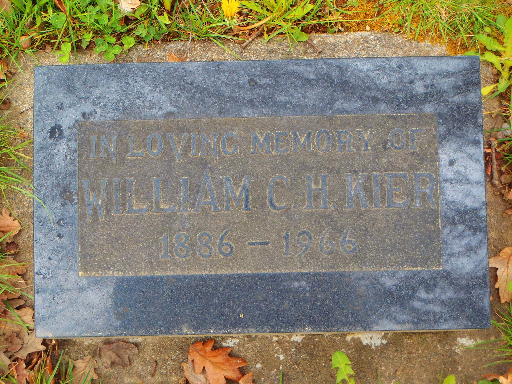 William Kier grave stone, Mountain View Cemetery, North Cowichan (photo by Temple Lodge No. 33 Historian)
