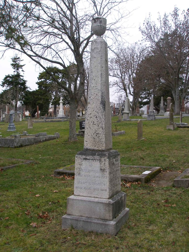 David William Higgins grave, Ross Bay Cemetery, Victoria, B.C. (photo by Temple Lodge No. 33 Historian)