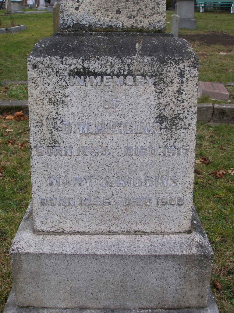 David William Higgins grave inscription, Ross Bay Cemetery, Victoria, B.C. (photo by Temple Lodge No. 33 Historian)
