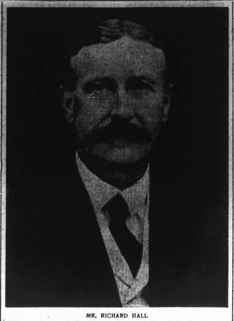 Richard Hall, newspaper obituary photo, 1918