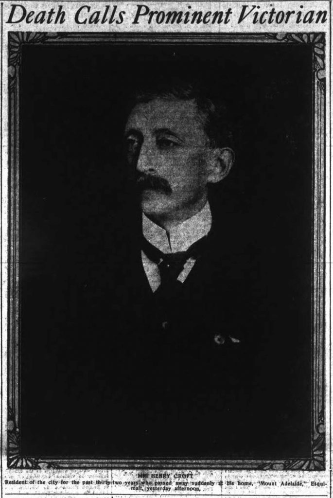 This photo of Henry Croft appeared in his newspaper obituary, July 1917.