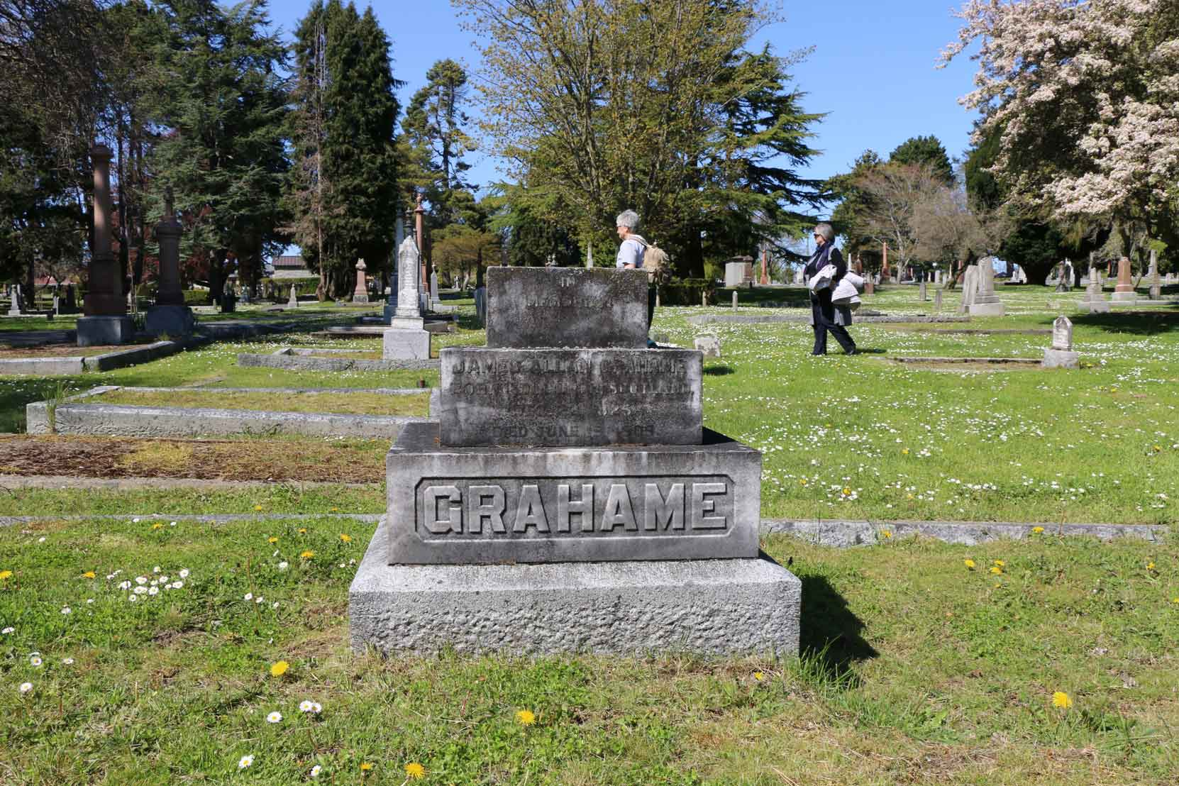 James Allan Grahame grave, Ross Bay Cemetery, Victoria, B.C. (photo by Temple Lodge No. 33 Historian)