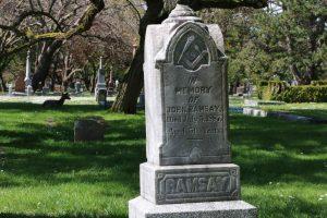 John Ramsay grave, Ross Bay Cemetery, Victoria, BC (photo by Temple Lodge No. 33 Historian)