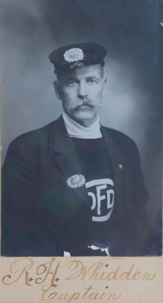 Robert Henry Whidden, circa 1910, as Duncan Volunteer Fire Department Captain (photo courtesy of Duncan Volunteer Fire Department)
