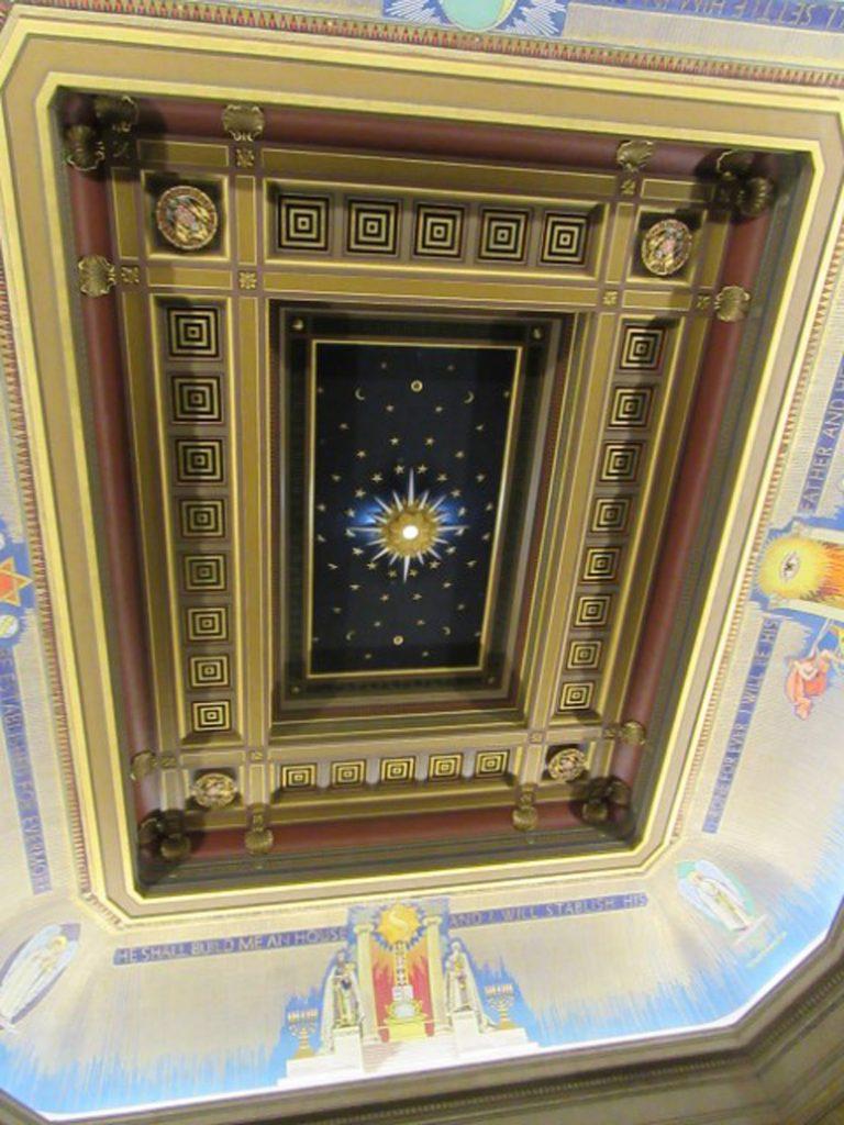 Ceiling in Grand Meeting Room, Freemasons Hall, London, UK, July 2018 (photo by Paul Philcox)