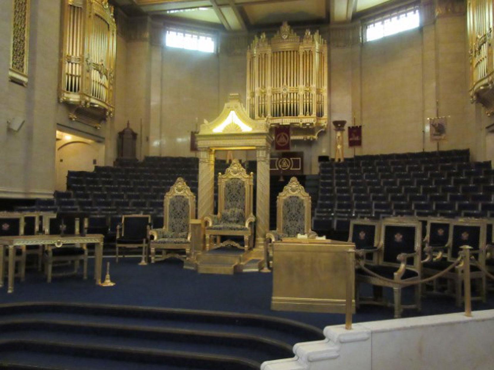 Grand Master's Chair. Grand Meeting Room, Freemasons Hall, London, UK, July 2018 (photo by Paul Philcox)