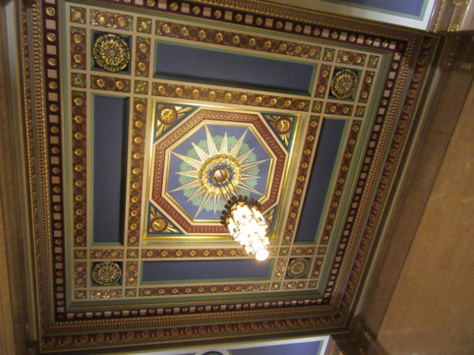 Main Hall Ceiling, Freemasons Hall, London, UK, July 2018 (photo by Paul Philcox)