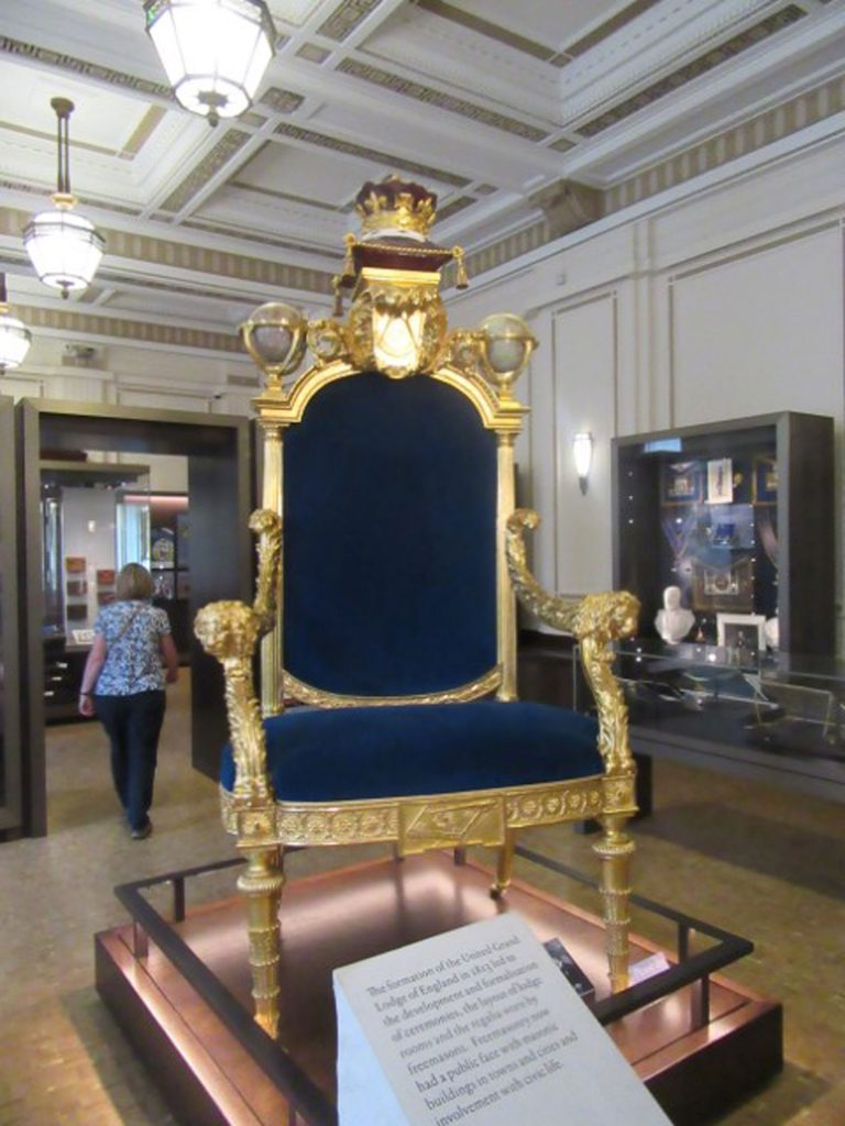 King George III Throne, United Grand Lodge of England Museum, Freemasons Hall, London, UK, July 2018 (photo by Paul Philcox)