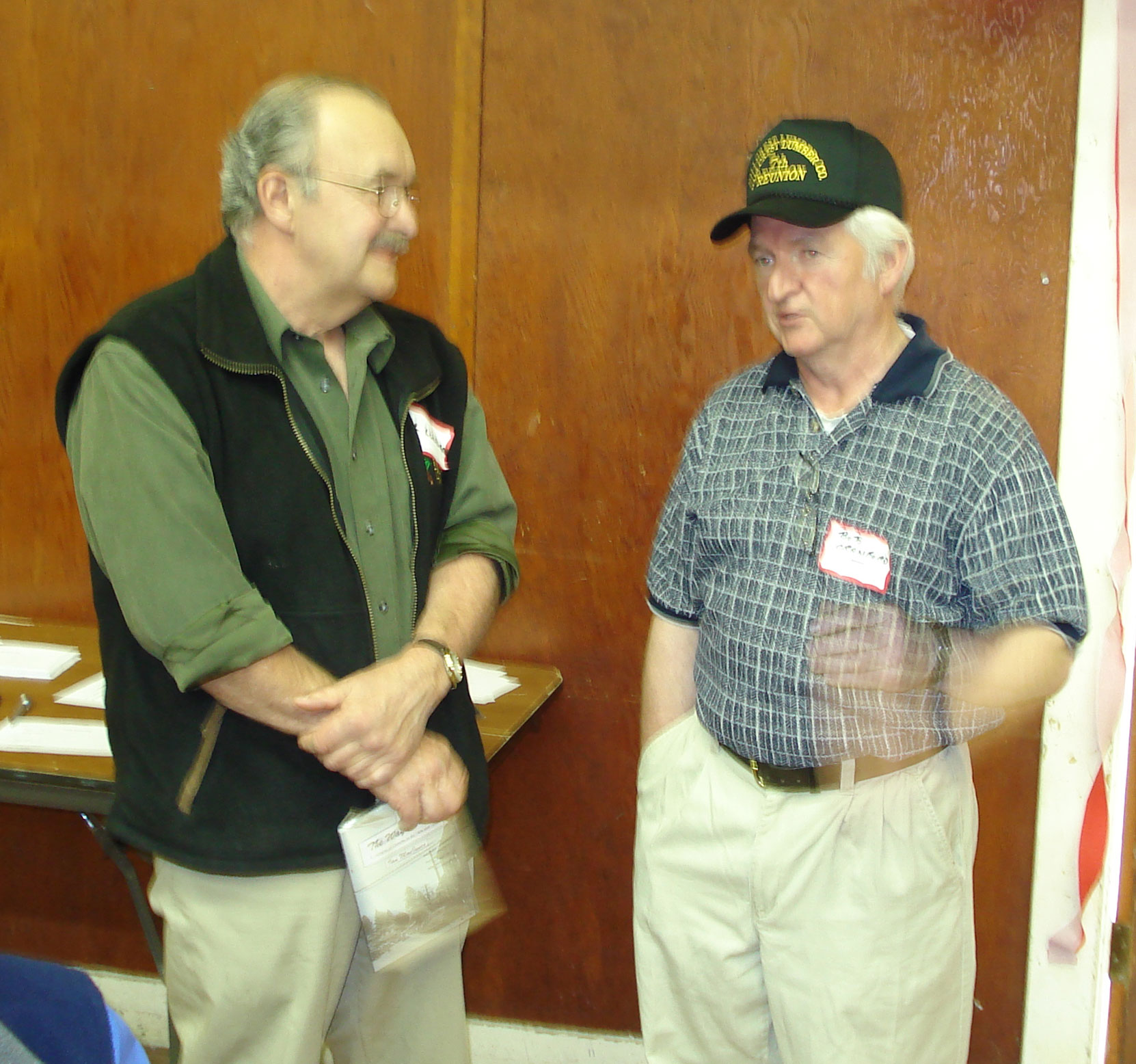 Bob Crawford (right) with Al Lundgren, IWA Safety Director, who worked with Bob as a faller at Hillcrest Lumber Company. Taken at Hillcrest Lumber Company Employees Reunion, 2007. (photo: Cecil Ashley)