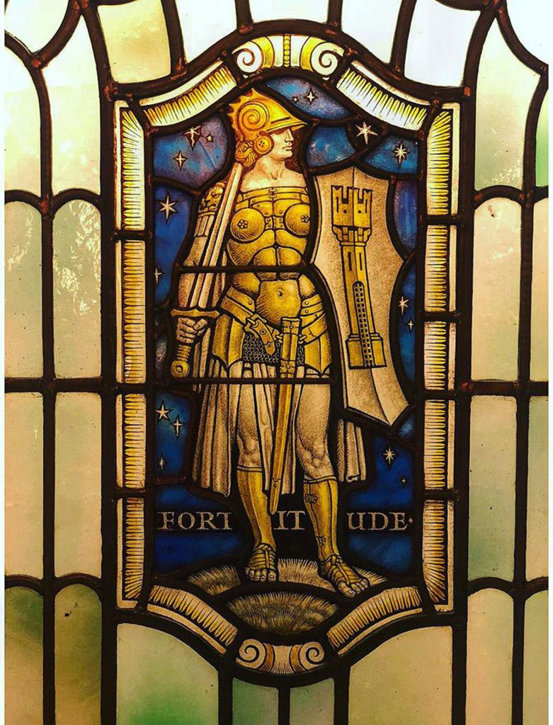 Stained glass in Freemasons Hall, London depicting Fortitude, one of the Four Cardinal Virtues: Prudence. Temperance. Fortitude and Justice (photo courtesy of United Grand Lodge of England)