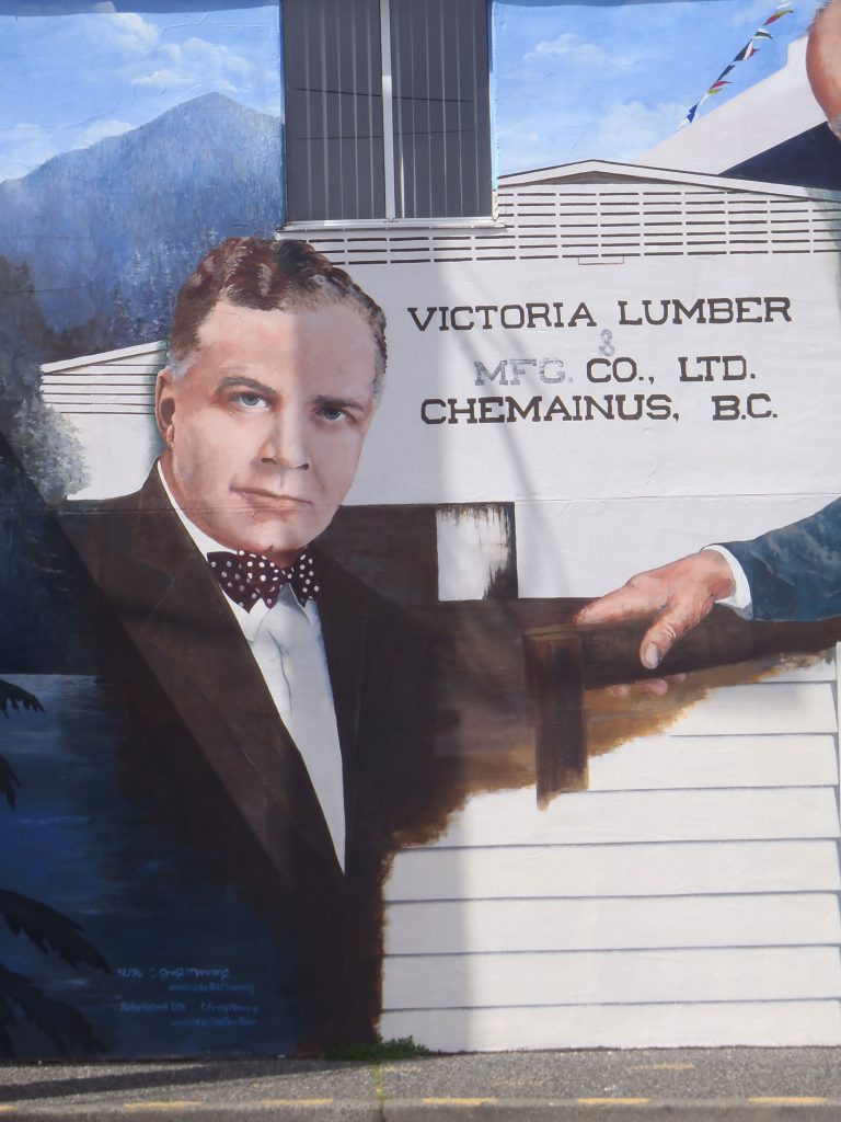 John A. Humbird on the Lumber Barons (John A. Humbird & Bloedel) mural in downtown Chemainus, B.C. (photo by Temple Lodge No. 33 Historian)