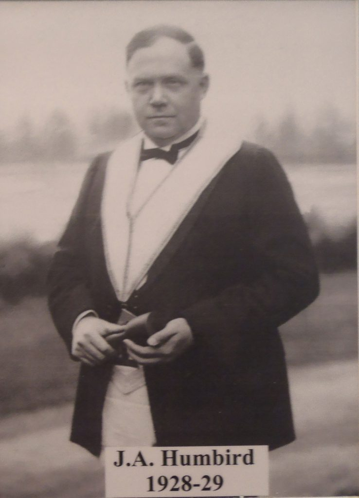 John Alexander Humbird as Worshipful Master of Chemainus Lodge No. 114, in 1928-29 (photo courtesy of Chemainus Lodge No. 114)