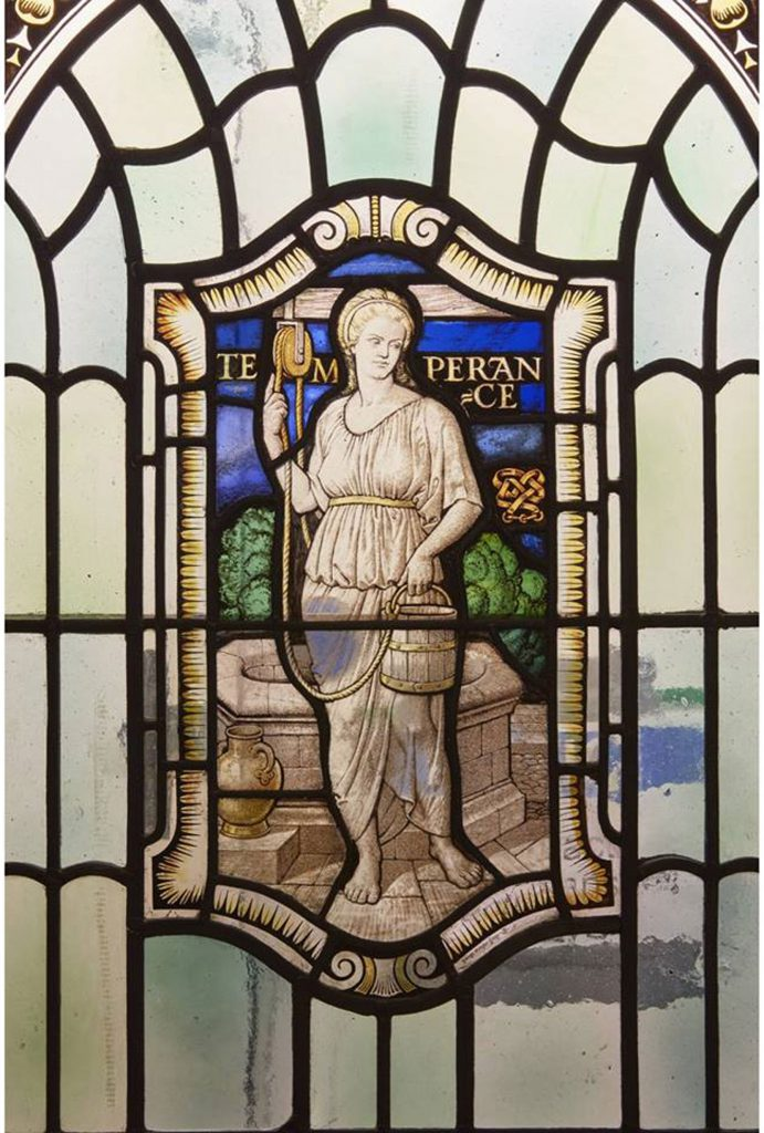 Stained glass in Freemasons Hall, London depicting Temperance, one of the Four Cardinal Virtues: Prudence. Temperance. Fortitude and Justice (photo courtesy of United Grand Lodge of England)