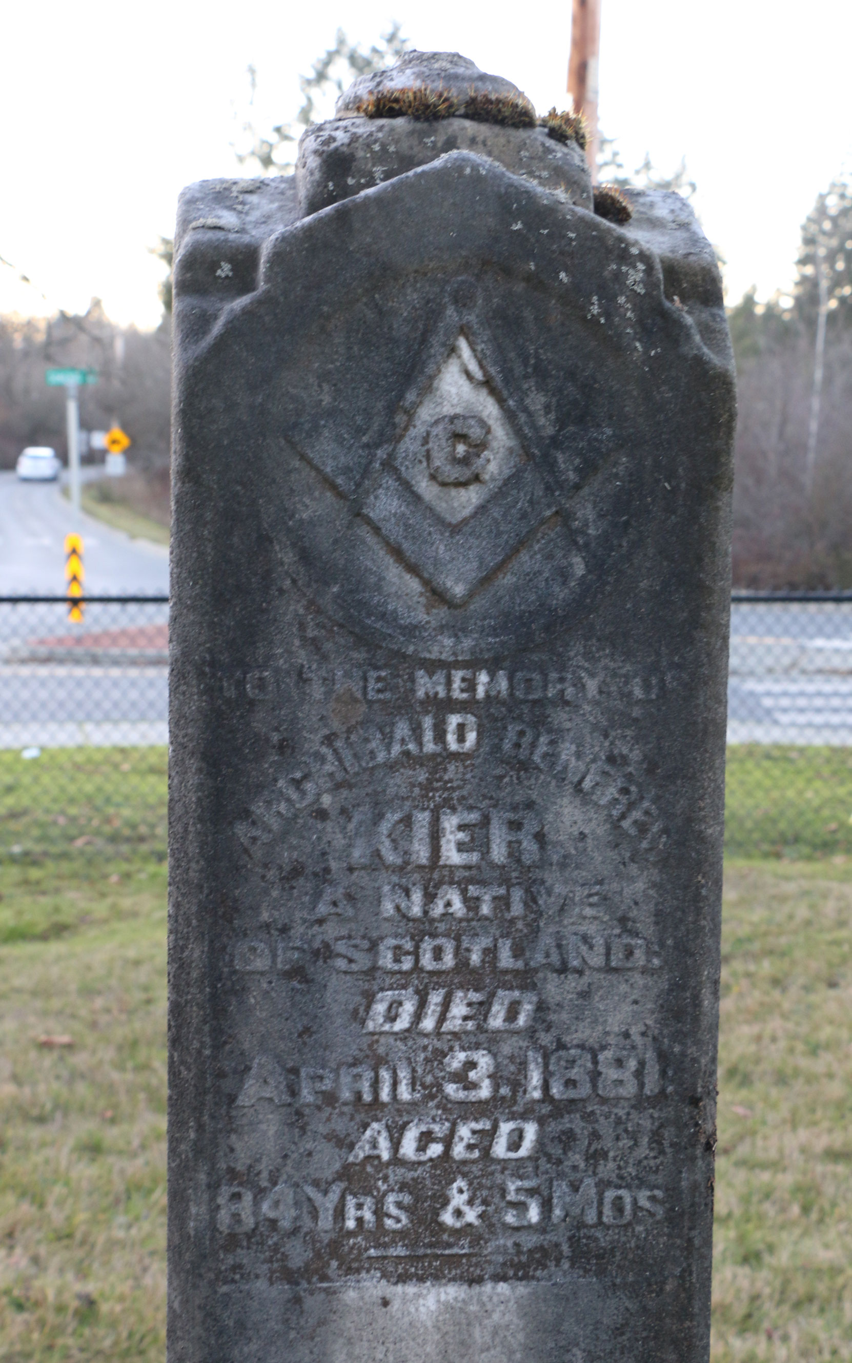 Archibald Renfrew Kier (died 3 April 1881, aged 84), grave inscription, Mountain View Cemetery, North Cowichan, BC (photo: Temple Lodge No. 33 Historian)