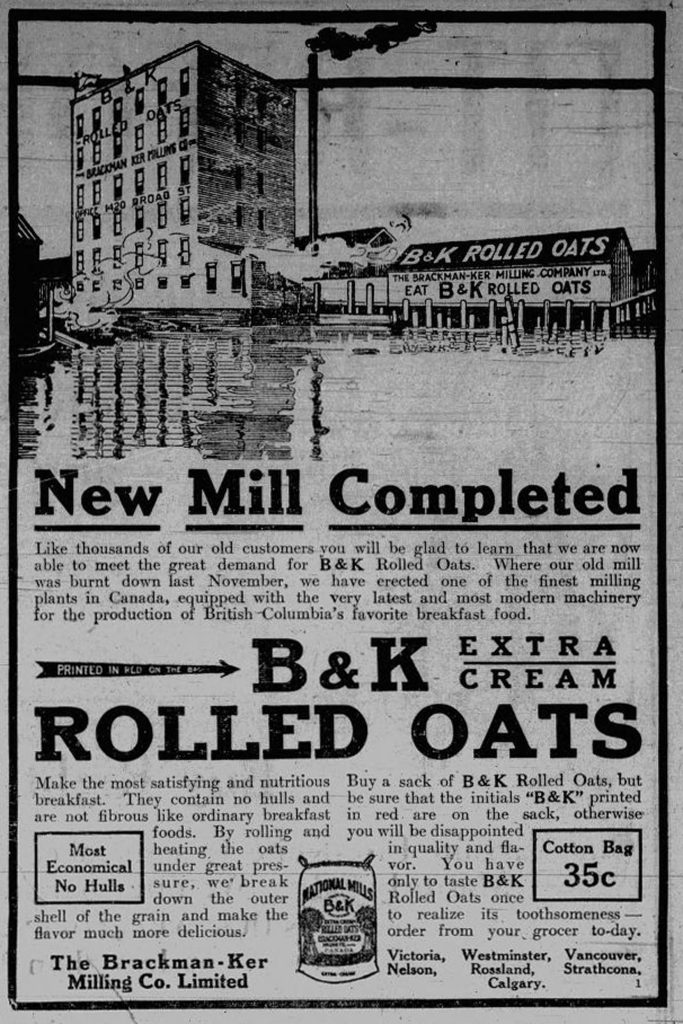1910 advertisement for the Brackman-Ker Milling Company, owned by David Russel Ker (photo: Temple Lodge No. 33 Historian)